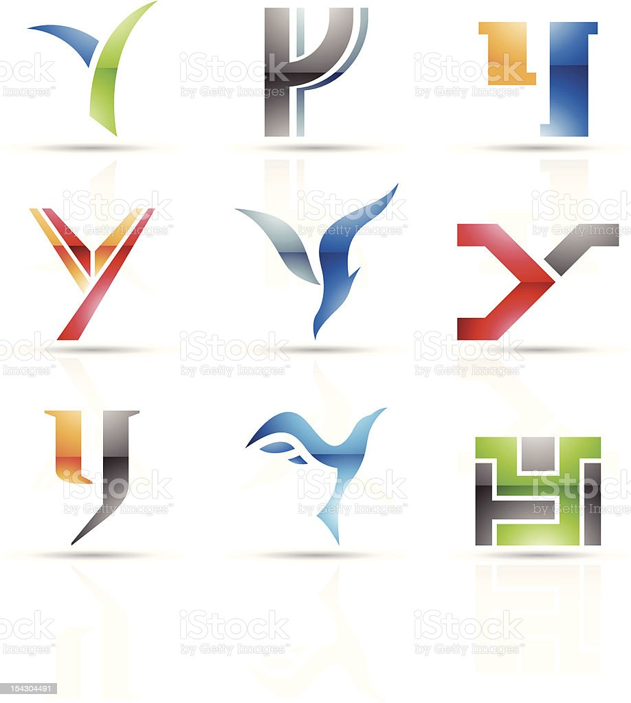Abstract icons for letter Y royalty-free stock vector art