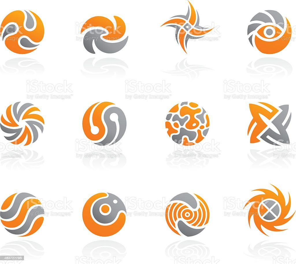 abstract icons set vector art illustration