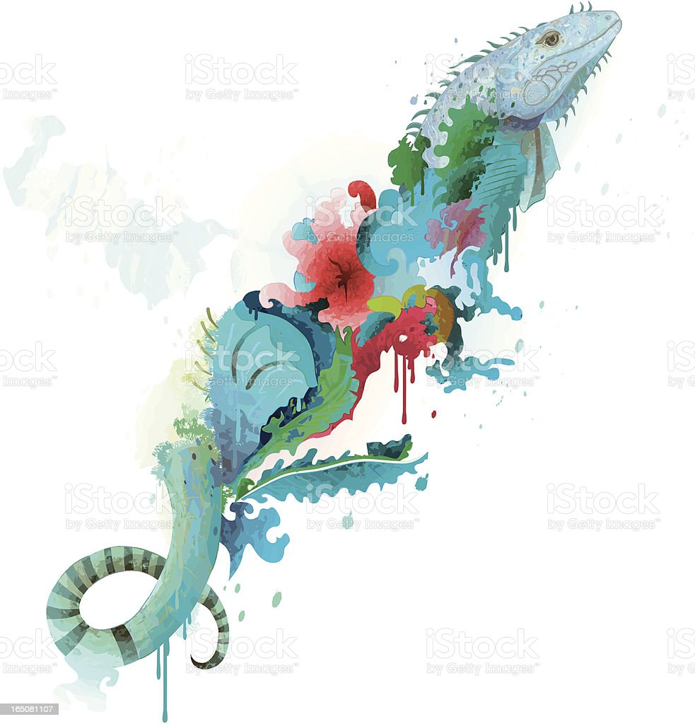 Abstract Iguana with Flowers royalty-free stock vector art