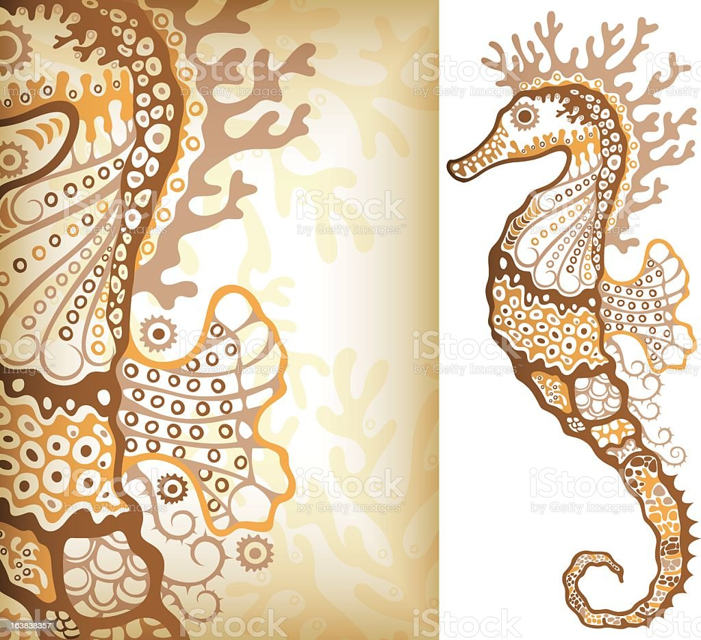 Abstract illustrated brown pattern seahorse royalty-free stock vector art