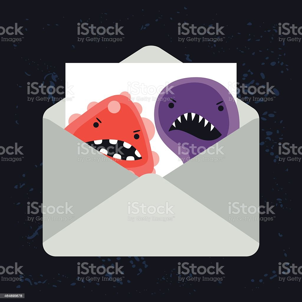 Abstract illustration email spam virus infection vector art illustration