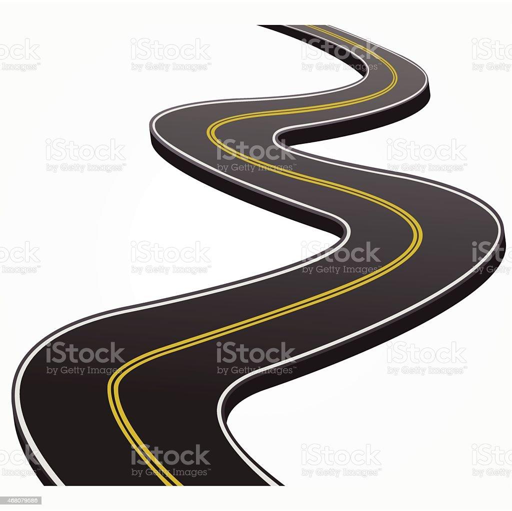Abstract illustration of a winding road vector art illustration
