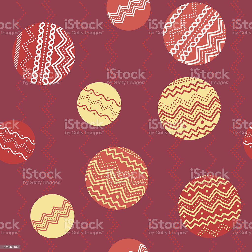 Abstract illustration with circles and hand-drawn elements. Seamless pattern. royalty-free stock vector art