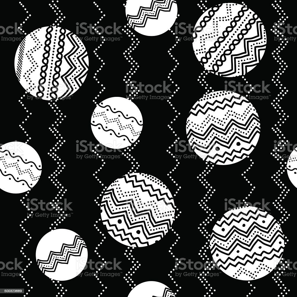 Abstract illustration with circles and hand-drawn elements. Seamless vector pattern. royalty-free stock vector art