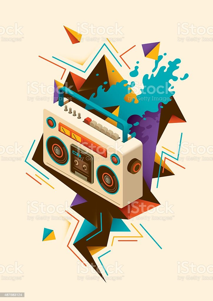 Abstract illustration with isometric radio. vector art illustration