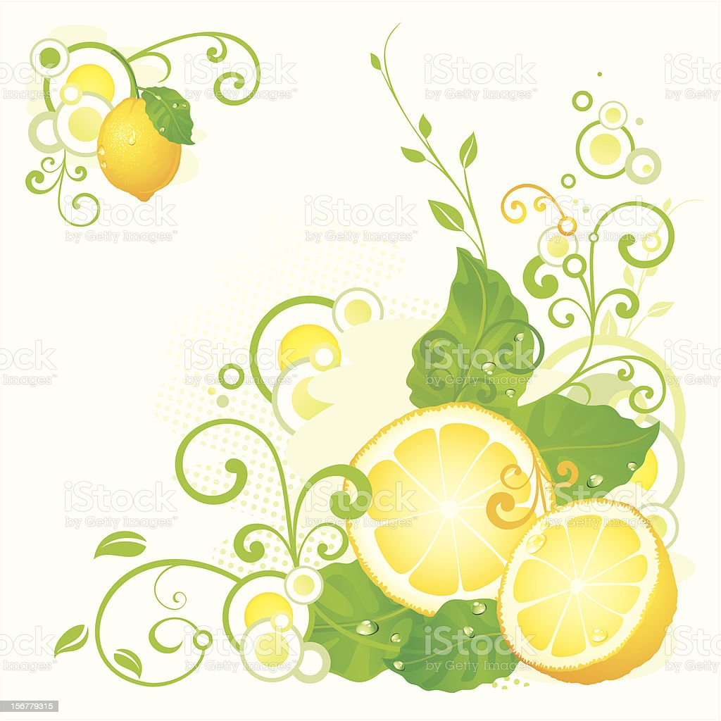 Abstract illustration with lemon fruit and swirls royalty-free stock vector art