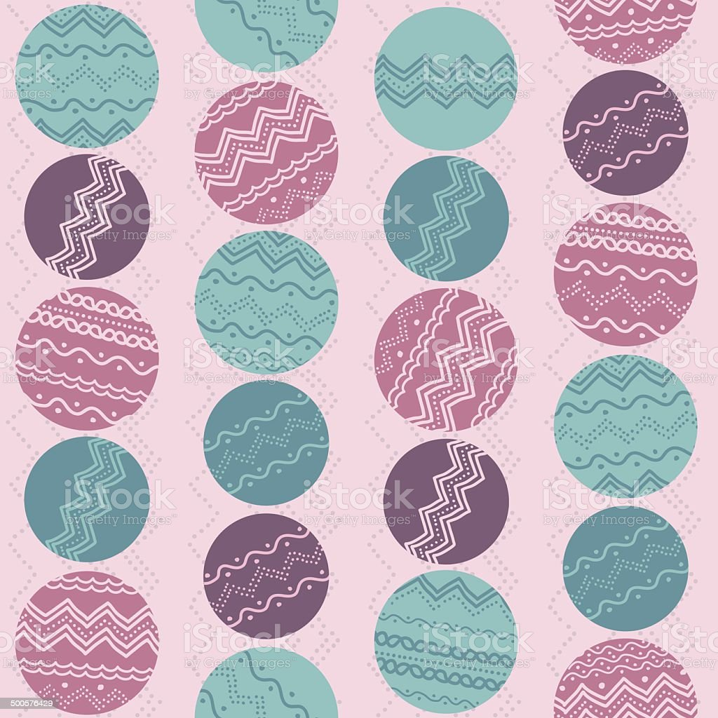 Abstract illustration with rounds and hand-drawn elements. Seamless vector pattern. royalty-free stock vector art