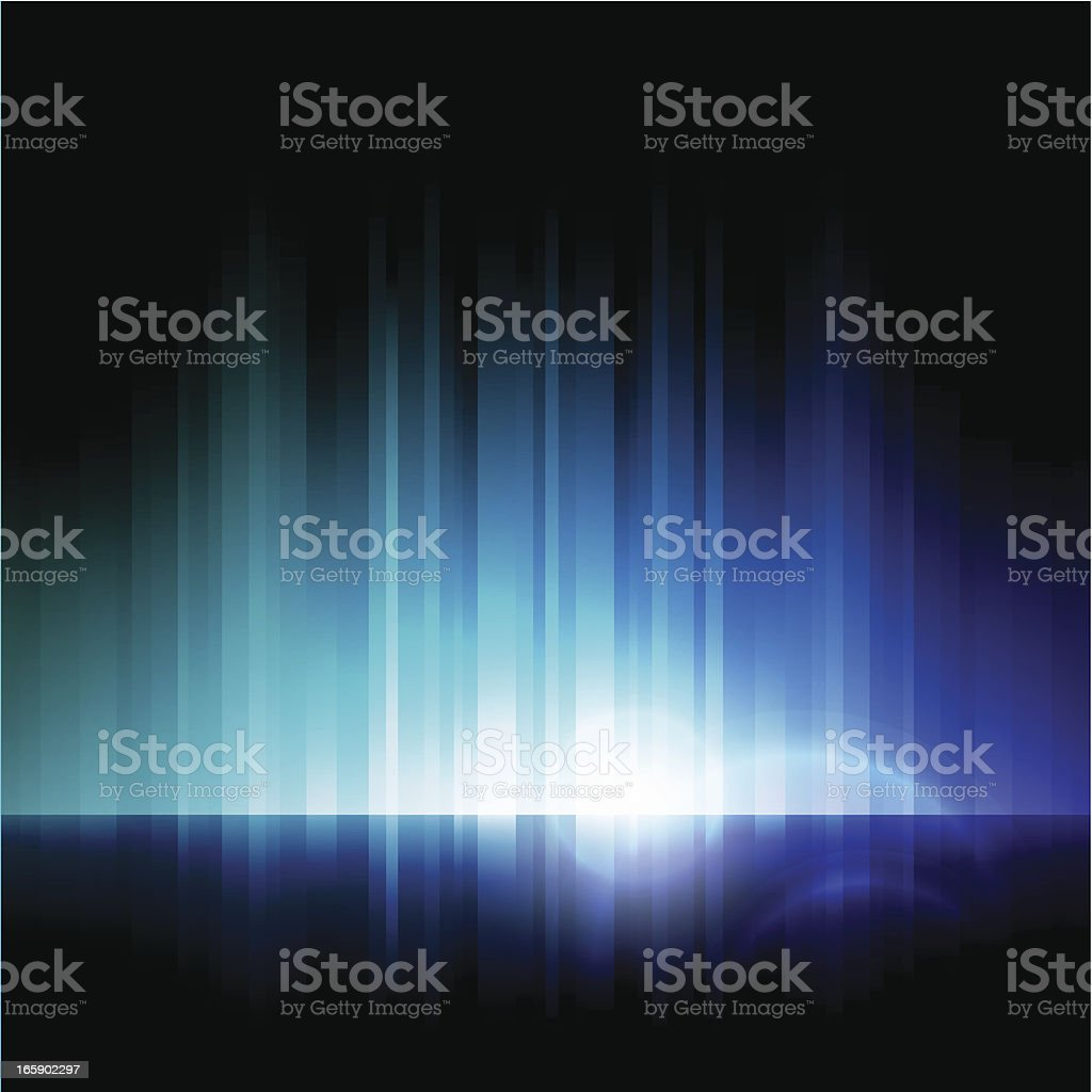 Abstract image of blue lights on a black background vector art illustration