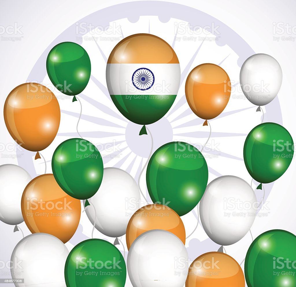 Abstract image of Indian flag holiday people vector art illustration