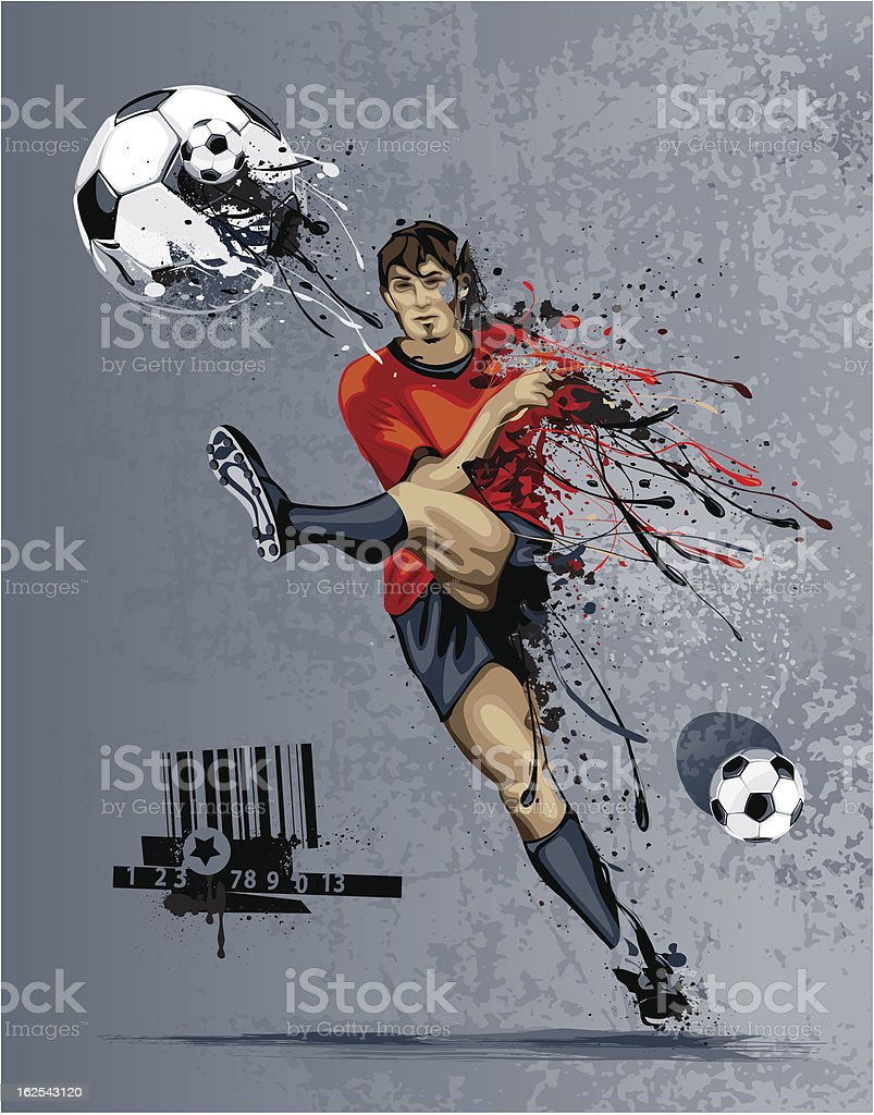 Abstract image of soccer player vector art illustration