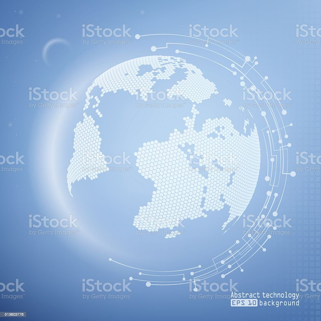 Abstract image of the Earth. Technology background. vector art illustration