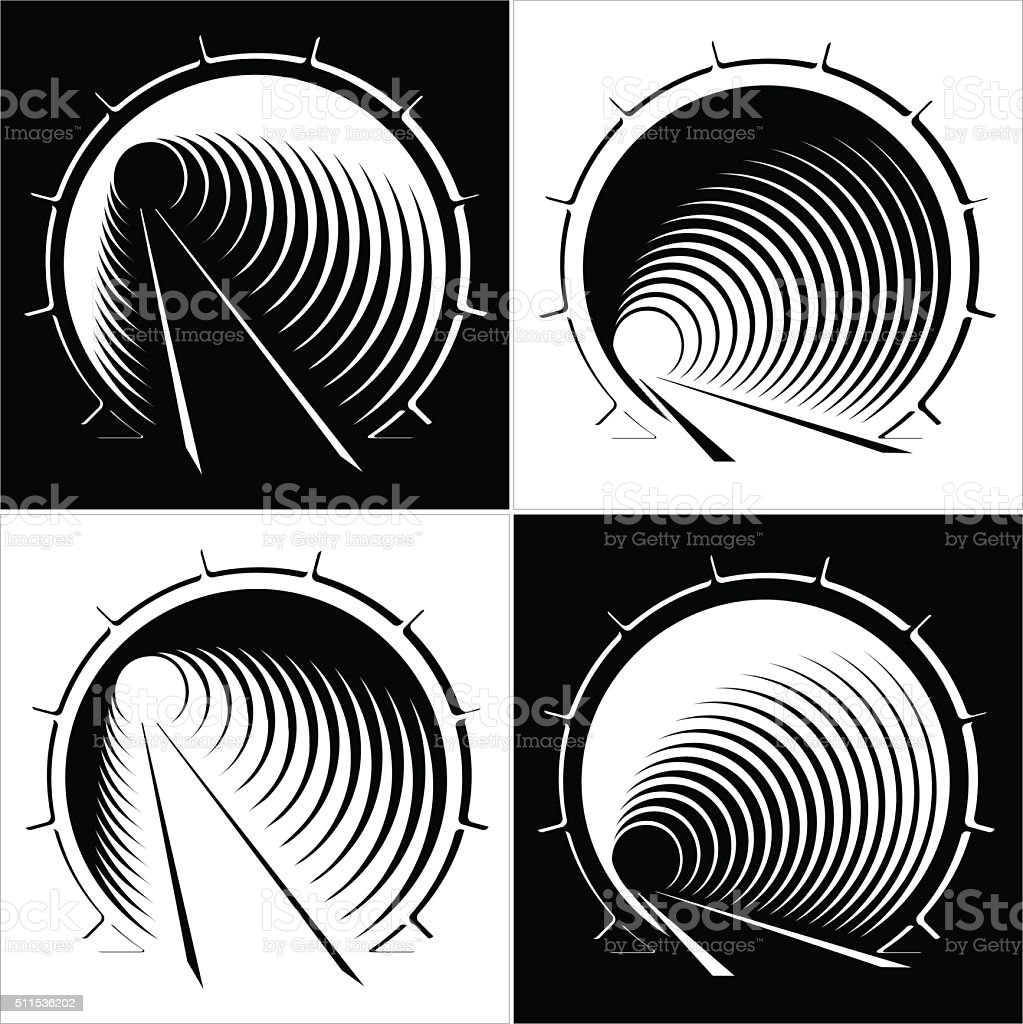 abstract images of tunnel in the mountain vector art illustration