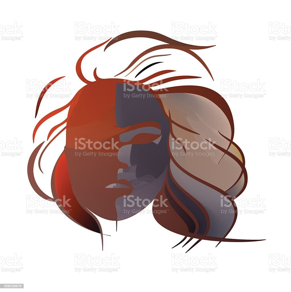 Abstract imitation of Japanese mask black and red vector art illustration