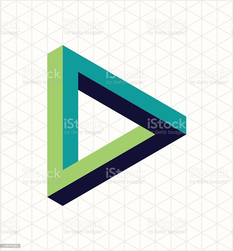 Abstract impossible triangle sign shape vector art illustration