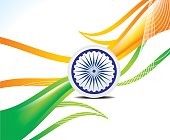 abstract indian republic day wave background in indian flag style