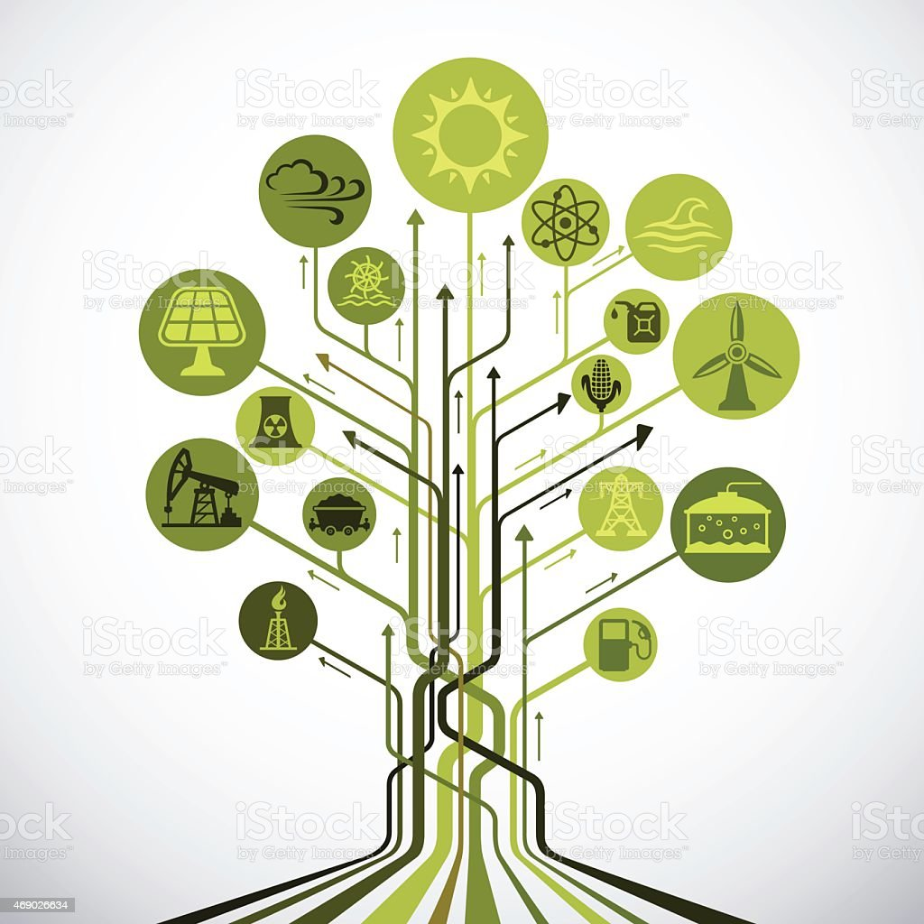 Abstract Industry and Energy Sources Tree vector art illustration
