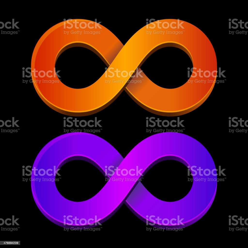 Abstract infinity orange and blue sign royalty-free stock vector art