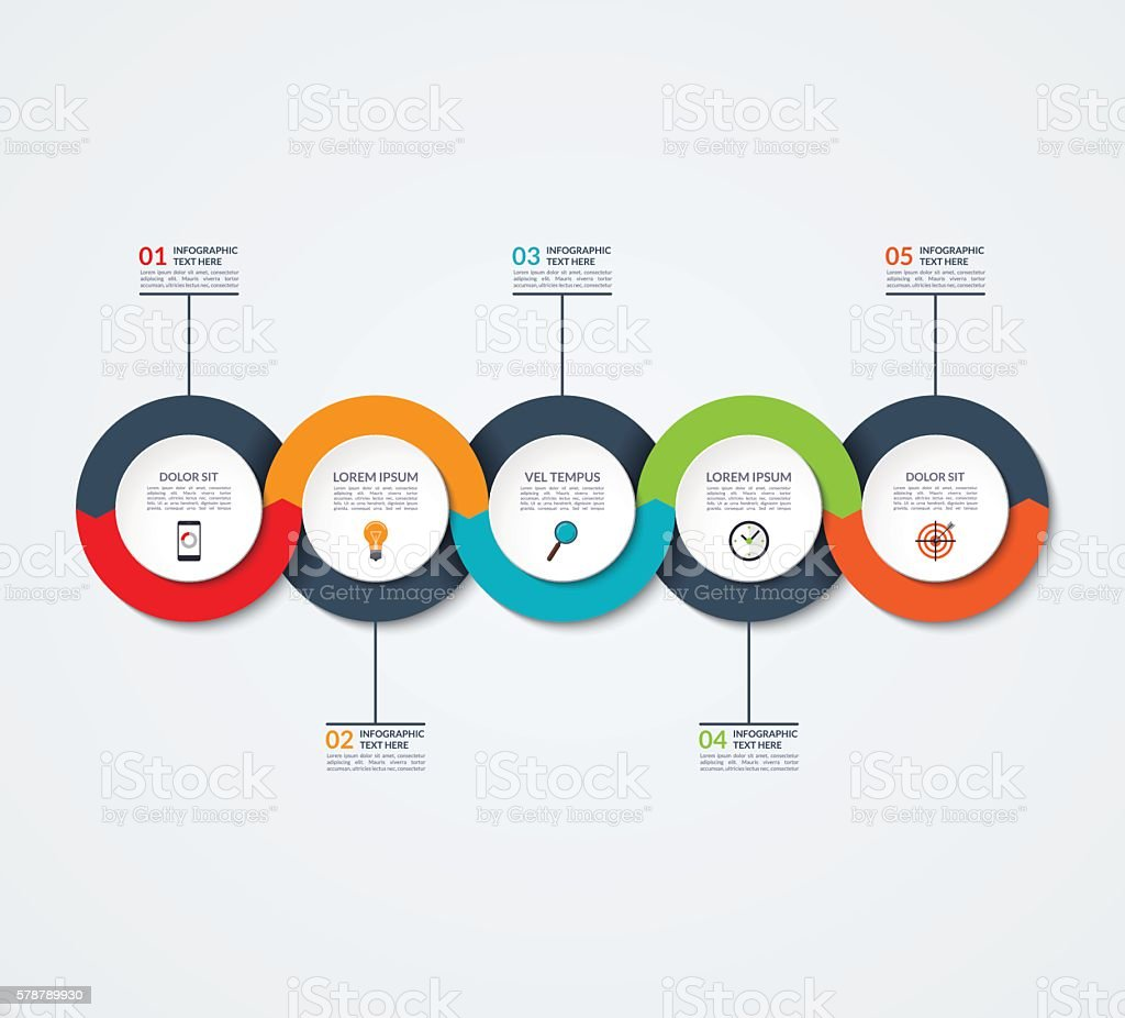 Abstract infographic template. Business concept with 5 options, steps, circles vector art illustration