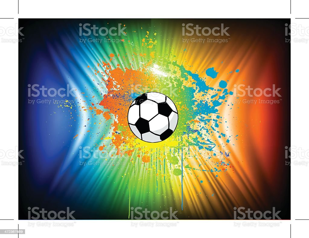 Abstract ink background with soccer ball. Vector royalty-free stock vector art