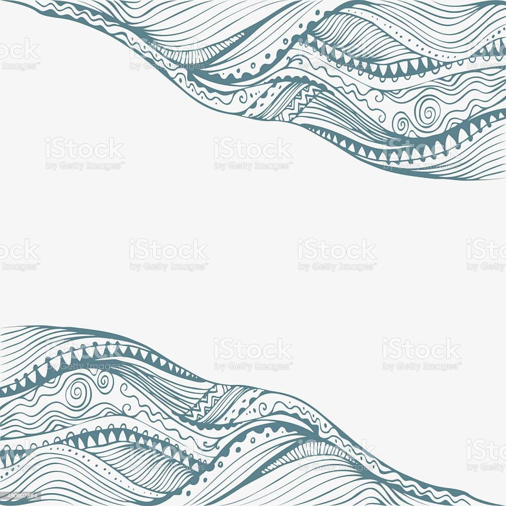 Abstract Ink Drawing Wavy Border In Doodle Style vector art illustration