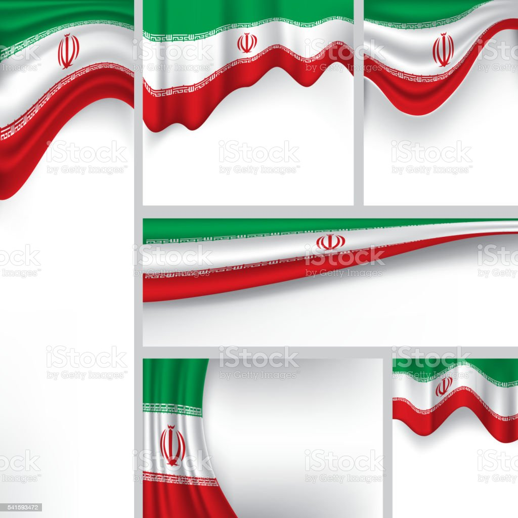 Abstract Iran Flag, Iranian Colors (Vector Art) vector art illustration