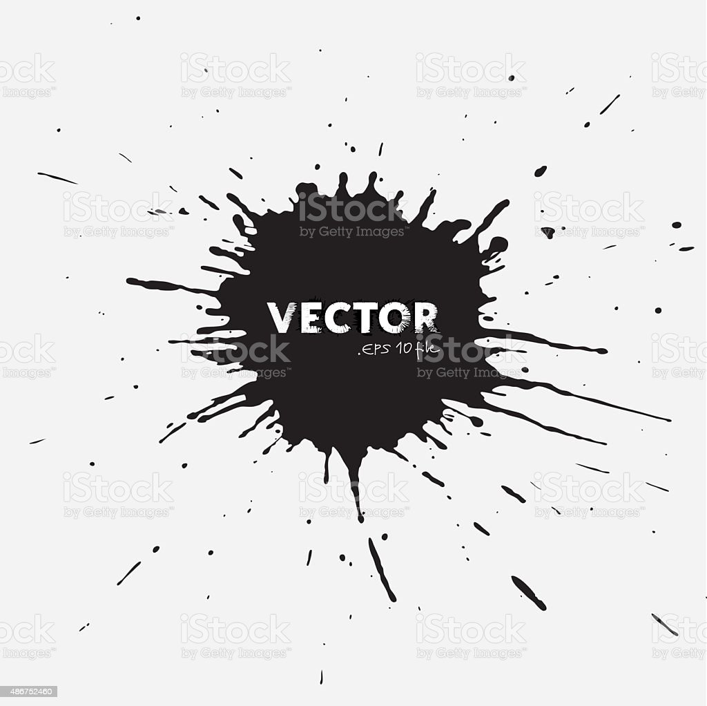 Abstract irregular black painted blot background - splash in Vector vector art illustration