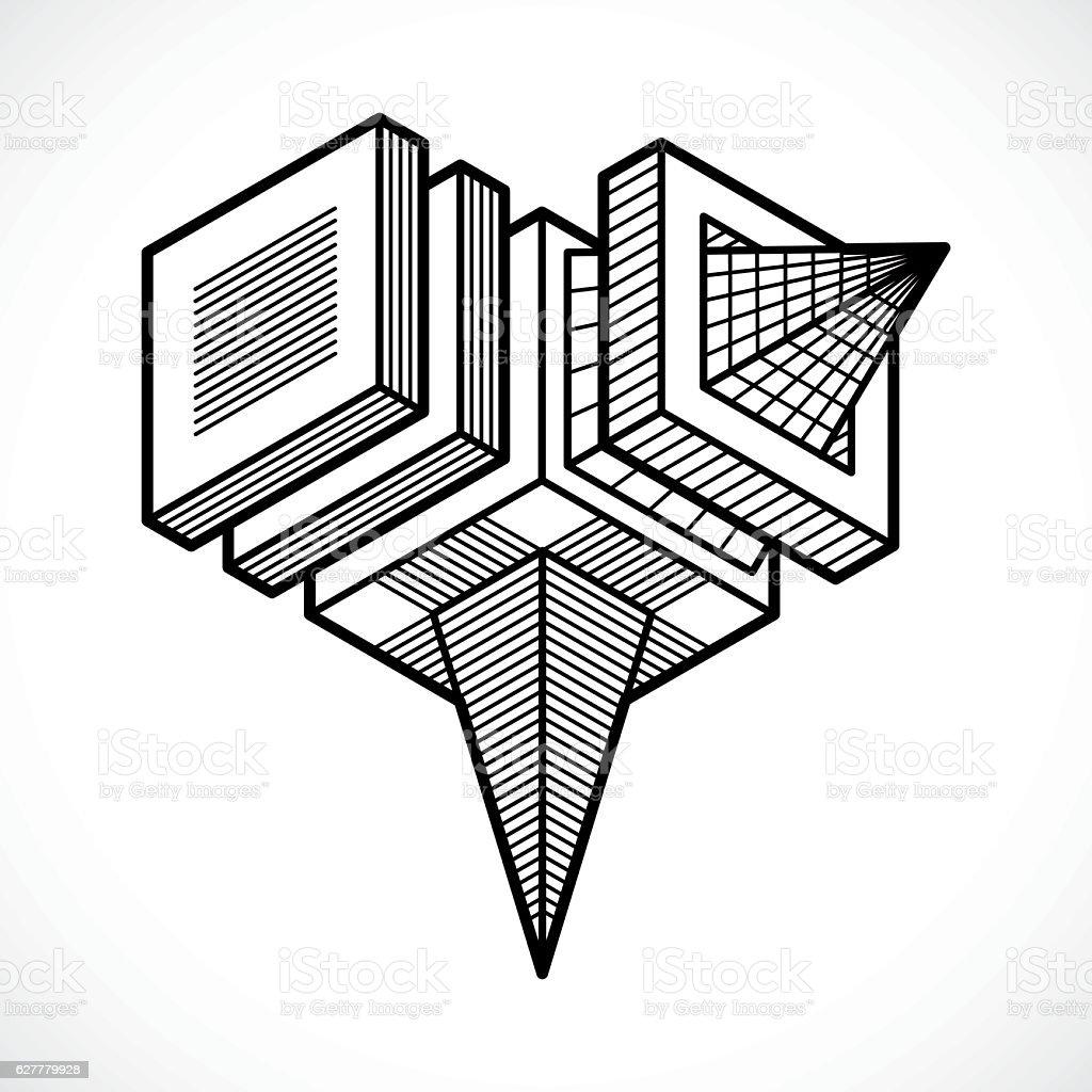 Abstract isometric construction, vector. vector art illustration