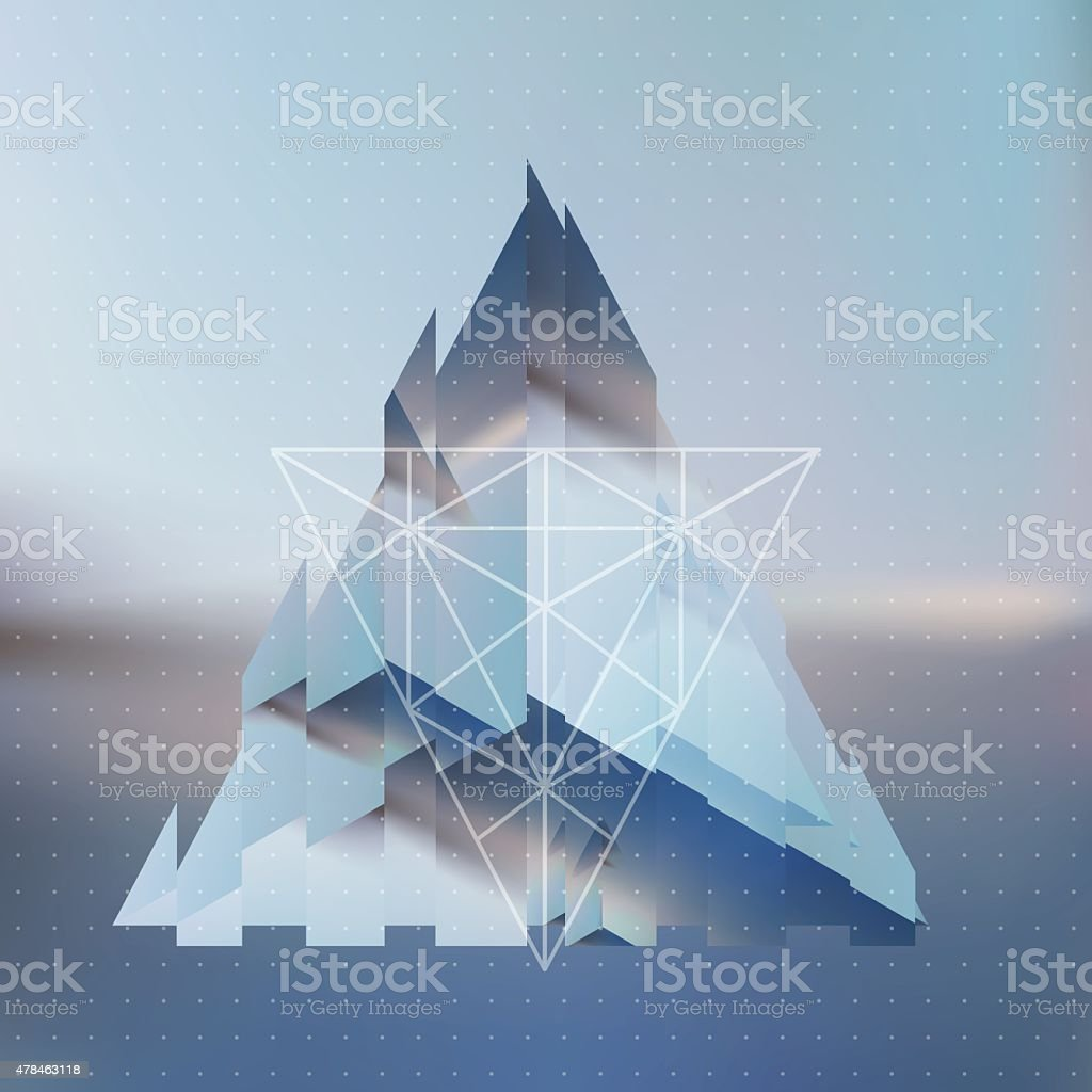 Abstract isometric fragmented pyramid with the reflection vector art illustration