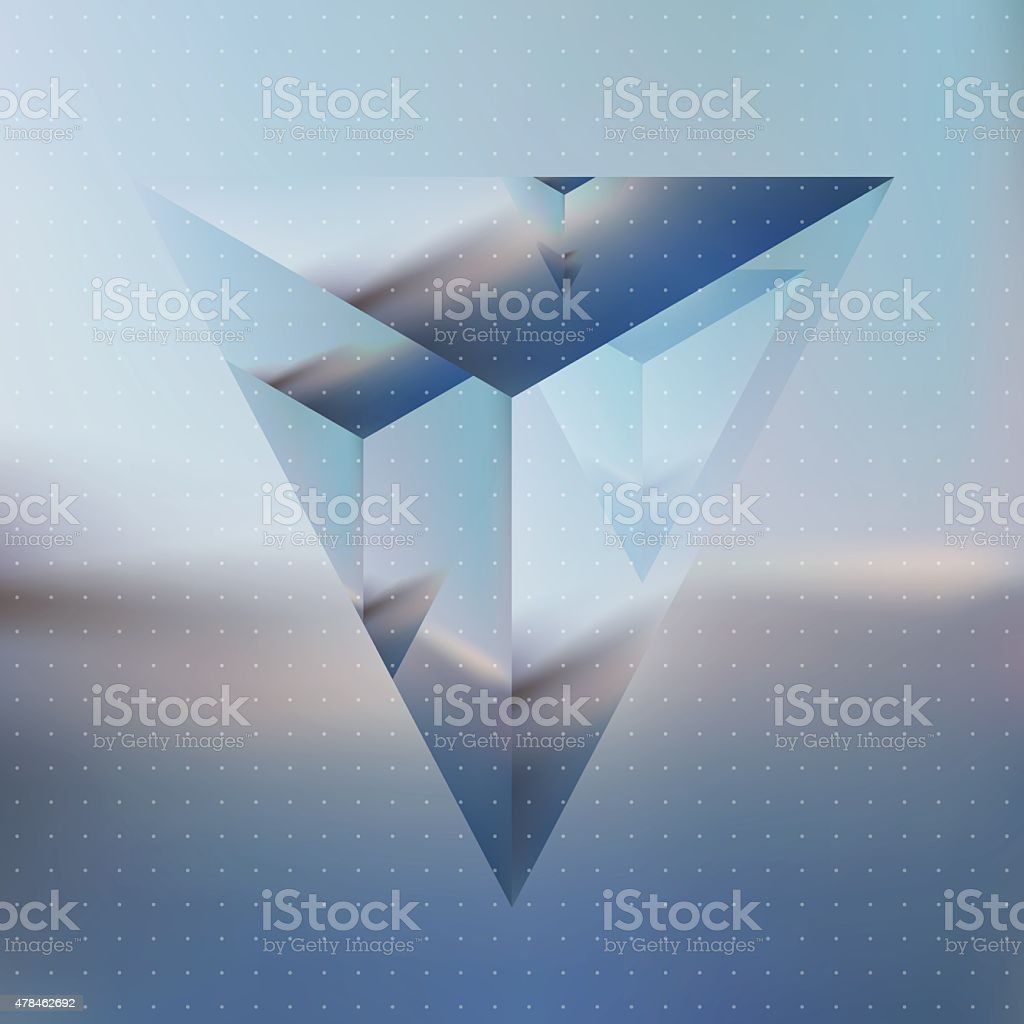 Abstract isometric prism with the reflection of the environment vector art illustration