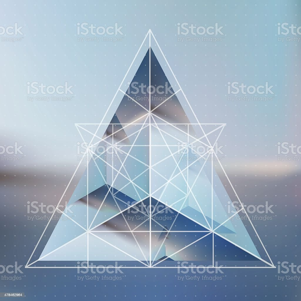 Abstract isometric pyramid with the reflection vector art illustration