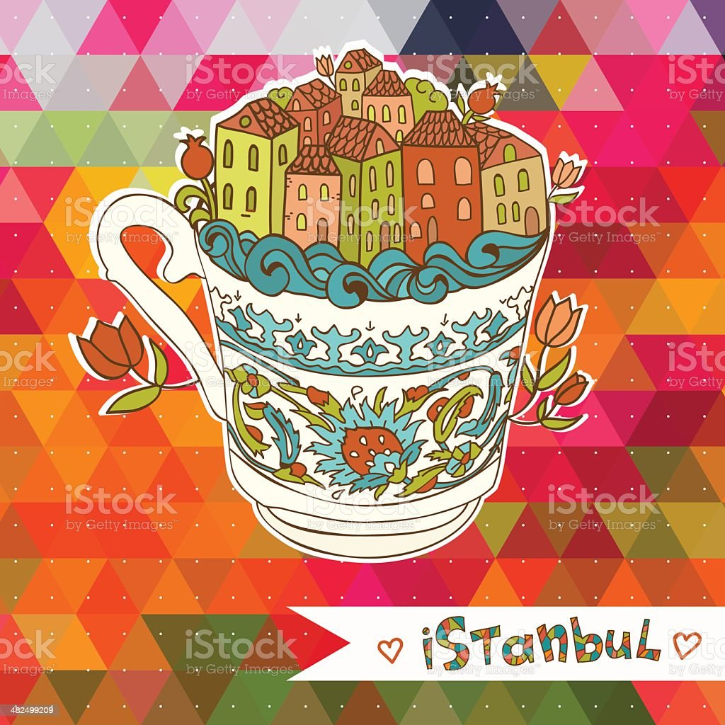 Abstract Istanbul city on the colorful background. vector art illustration
