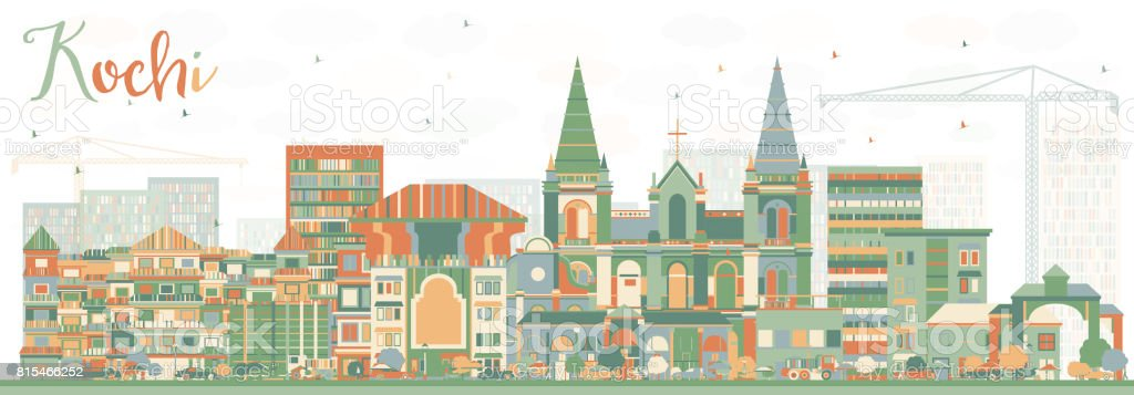 Abstract Kochi Skyline with Color Buildings. vector art illustration