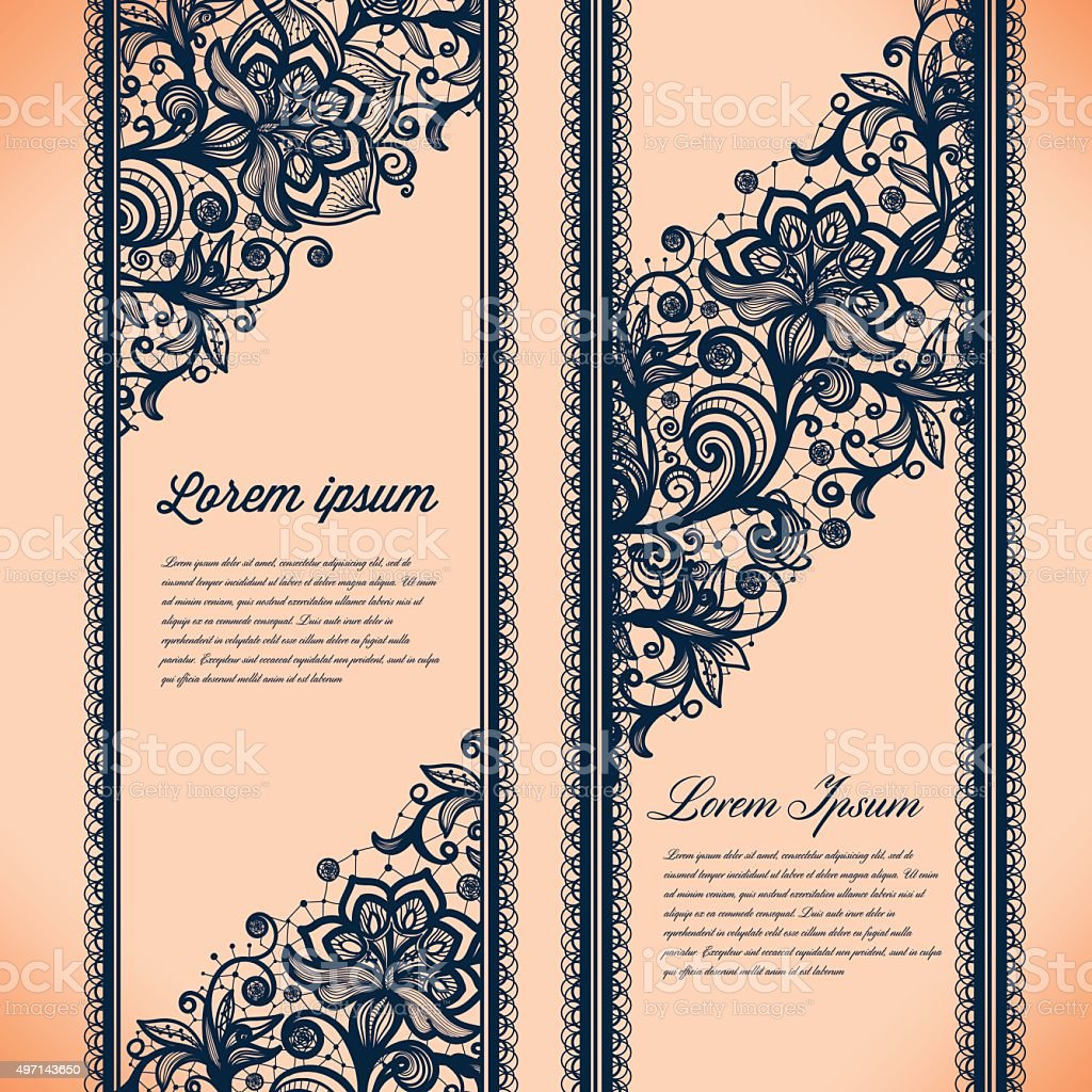 Abstract Lace Ribbon Vertical banners vector art illustration