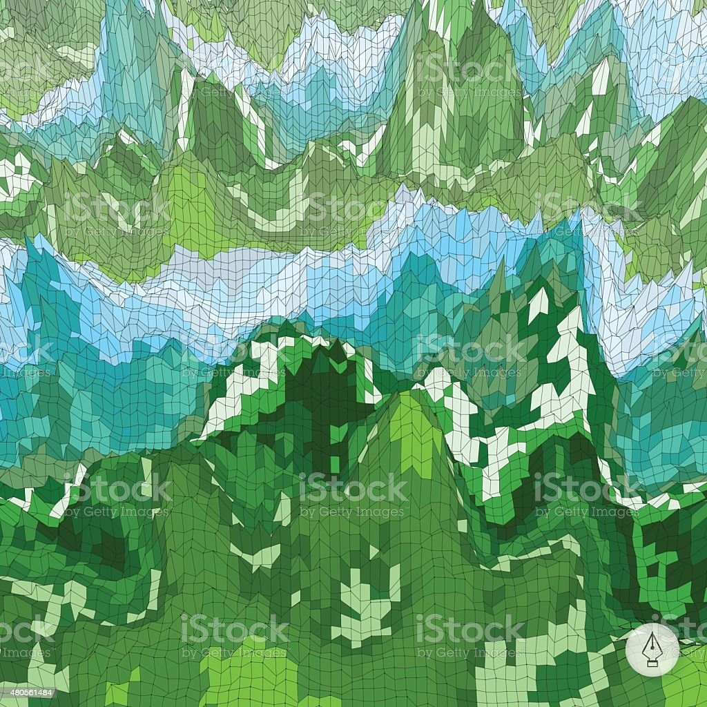 Abstract landscape background. Mosaic. vector art illustration