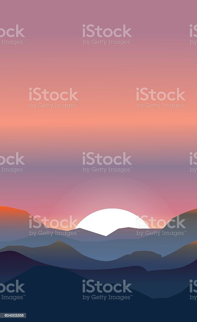 Abstract landscape of a sunset vector art illustration