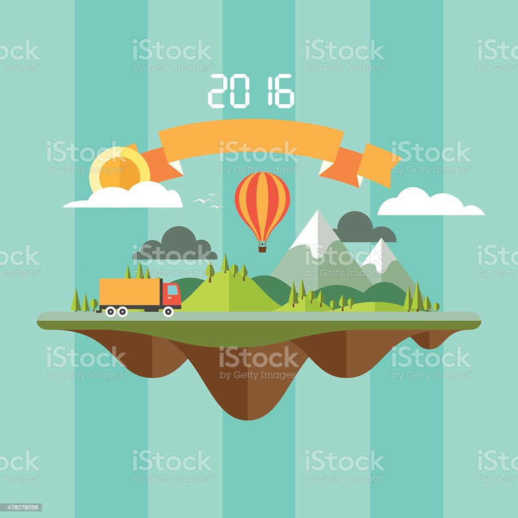 abstract landscape with travel concept vector art illustration
