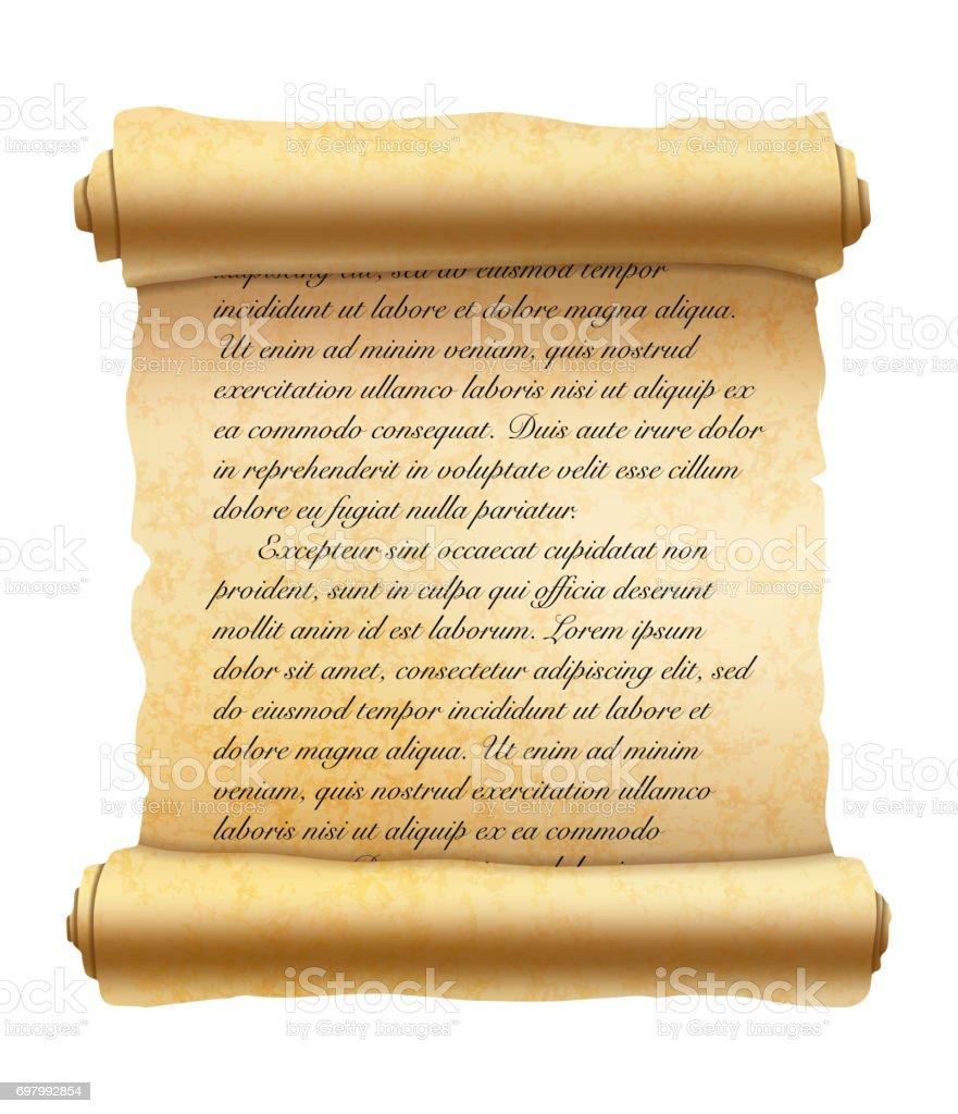 Abstract latin handwritten cursive text on old textured scroll on white vector art illustration