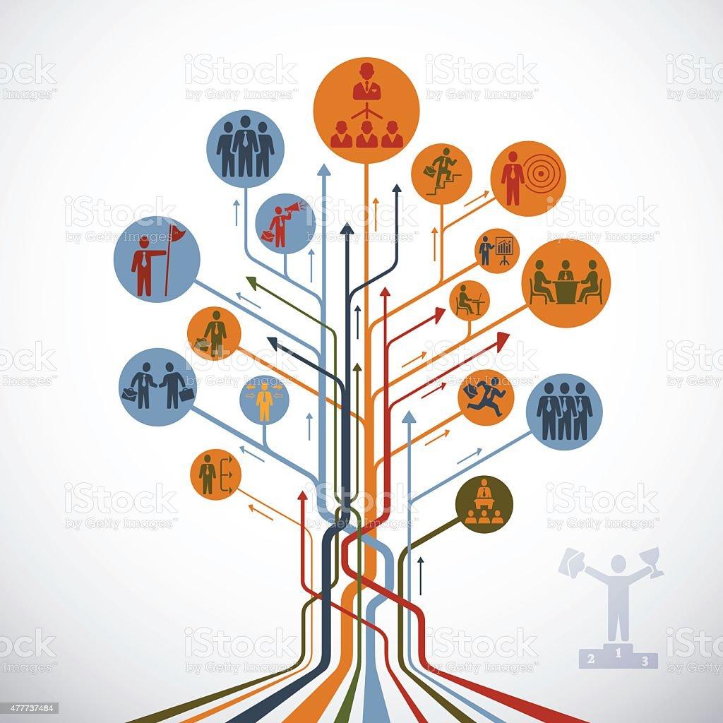 Abstract Leadership Tree vector art illustration