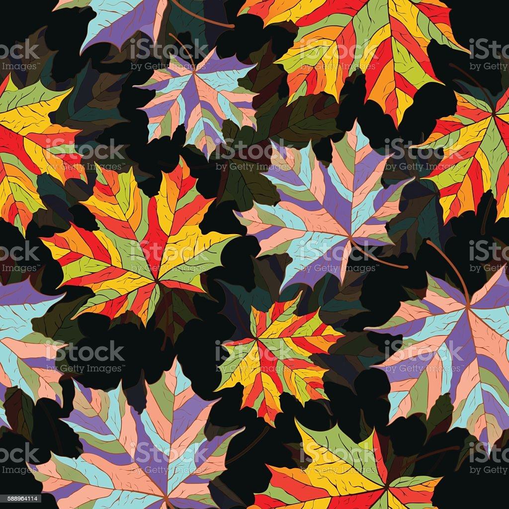 Abstract leaves, seamless pattern, vector background. Multi-colored maple  on royalty-free stock vector art