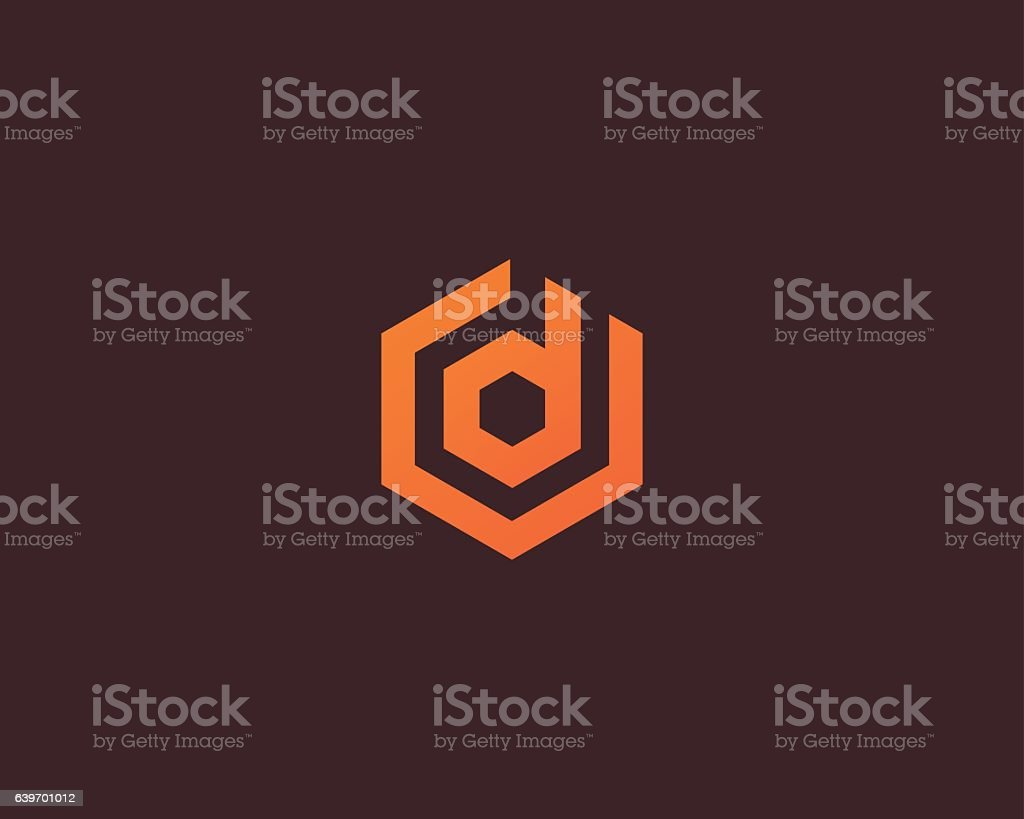 Abstract letter D vector logotype. Line hexagon creative simple logo vector art illustration