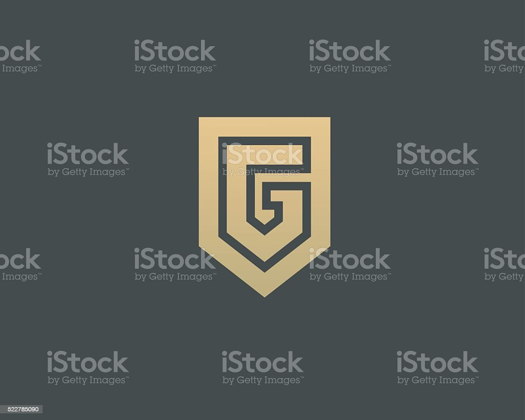 Abstract letter G shield logo design template. Premium nominal monogram vector art illustration