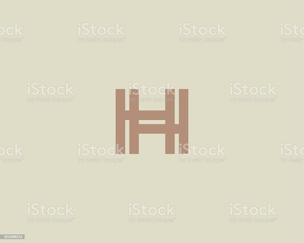 Abstract letter H logo design template. Colorful creative line sign vector art illustration