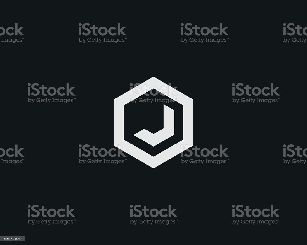 Abstract letter J vector logotype. Line hexagon creative simple logo vector art illustration