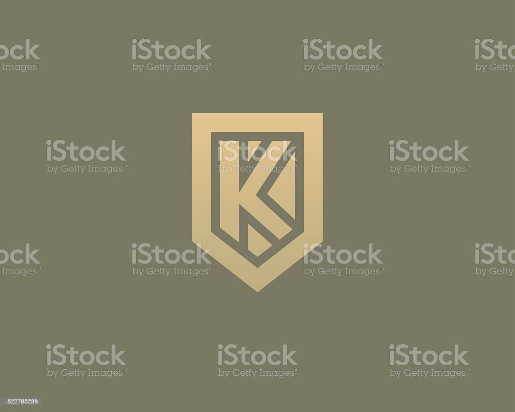 Abstract letter K shield logo design template. Premium nominal monogram vector art illustration