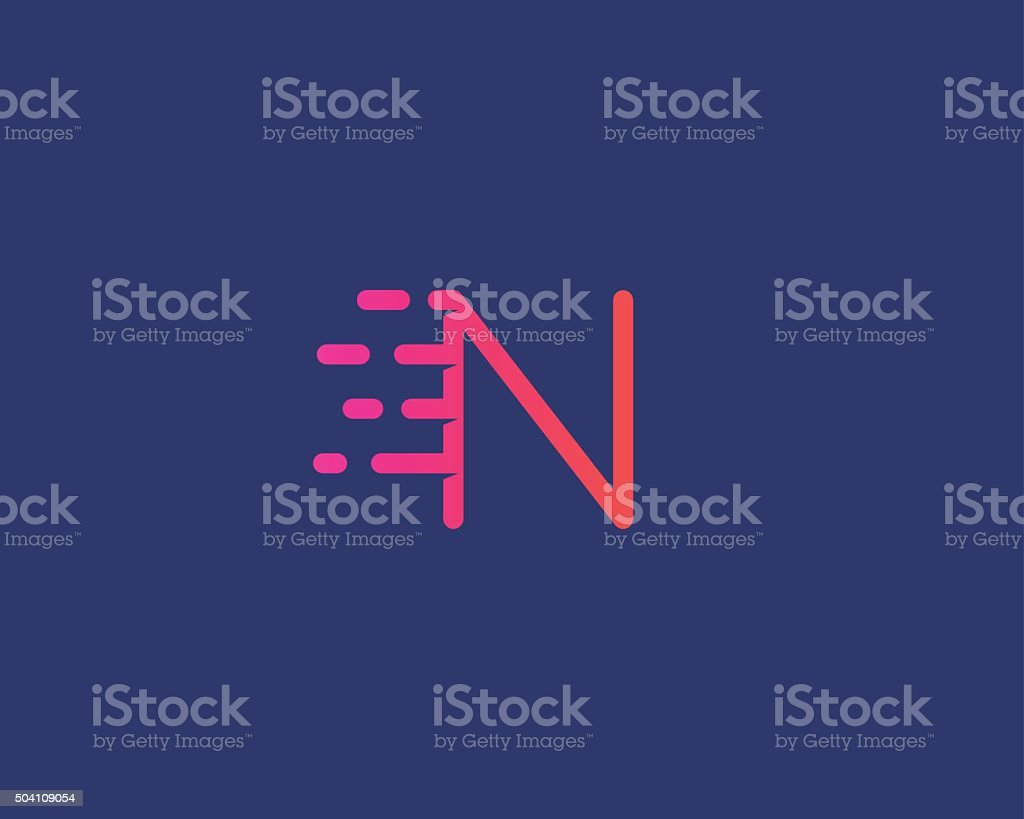 Abstract letter N logo design template.  Dynamic vector unusual line vector art illustration