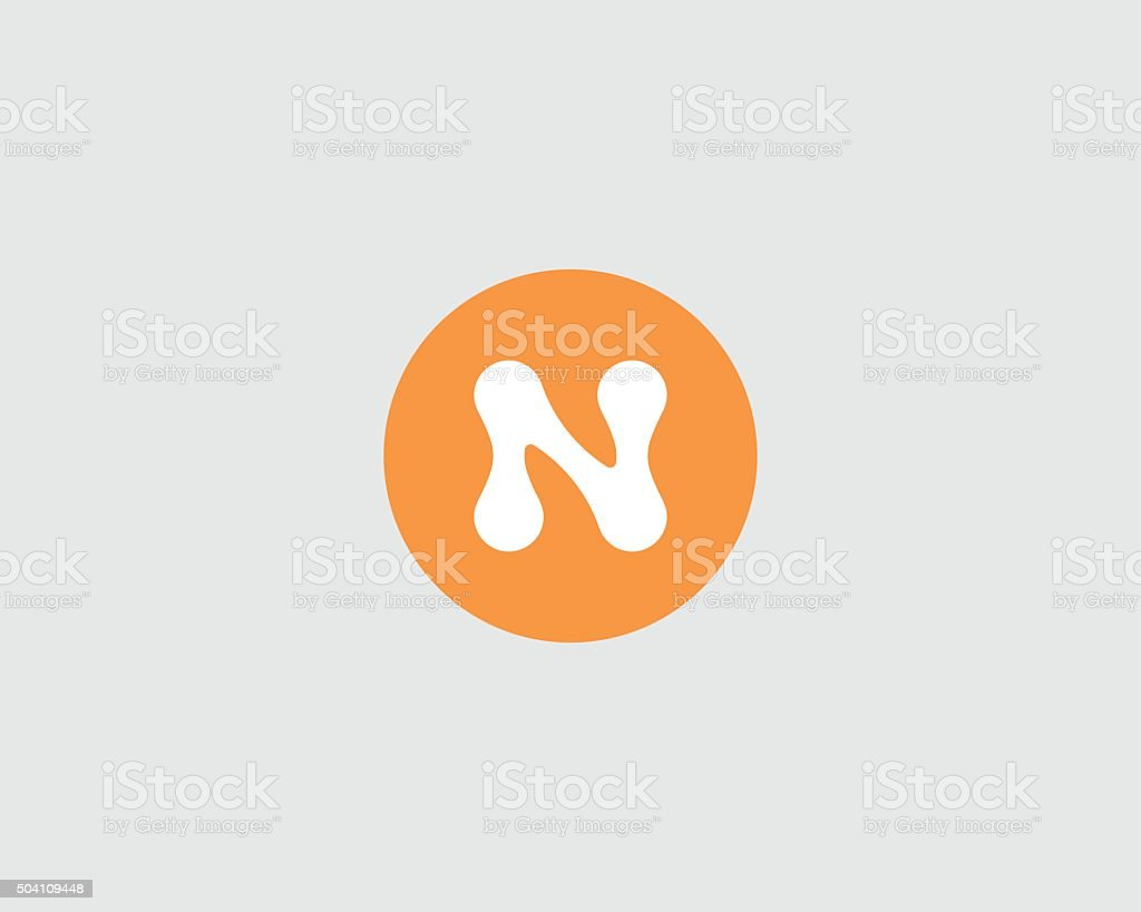 Abstract letter N logo design template. Round creative sign. Universal vector art illustration