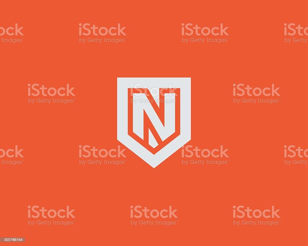 Abstract letter N shield logo design template. Premium nominal monogram vector art illustration
