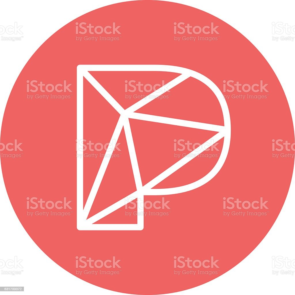 Abstract letter P logo design template. Structure simple line sign vector art illustration