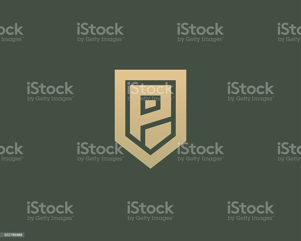 Abstract letter P shield design template. Premium nominal monogram vector art illustration
