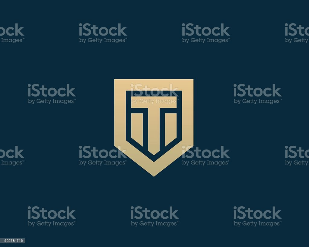 Abstract letter T shield logo design template. Premium nominal monogram vector art illustration